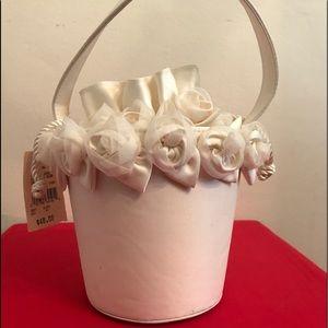 White bridal bag.